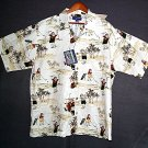 NEW Hawaiiian sports shirt santas golfing holiday cotton rayon XL