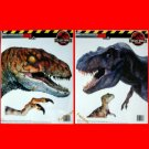 Huge T-REX & VELOCI-RAPTOR DINOSAUR DECALS - JURASSIC PARK STICKERS ~ Clings ~13x15