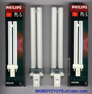 Two (2) Philips PL-S 9w/27 2 pin CFL Compact Fluorescent Bulbs Lamps Warm Light 2700K ~ G23 Base