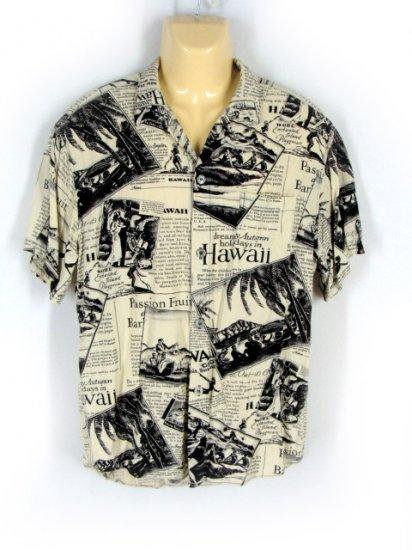 Men's Jams World Black White Hawaiian Print Shirt L