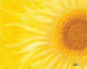 "PIZZUTI  Limited Edition Signed ""Yellow Sunflower Giclee"" Print"