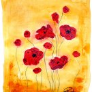 "PIZZUTI Original Signed Painting ""Eleven Red Poppies"""