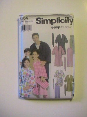 Simplicity Pattern 5364, Unisex Child, Teens, Adult Robe,Sizes,Xsmall to Large, Xlarge