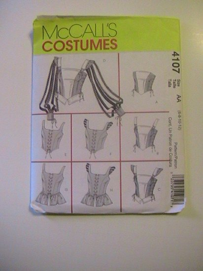 McCalls Costumes,Sewing  Pattern 4107 Size AA, Misses Renaissance Tops
