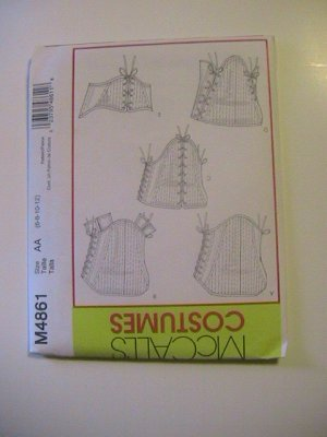 McCalls Costumes Corsets,Sewing Pattern, M4861, Size AA 5 Styles