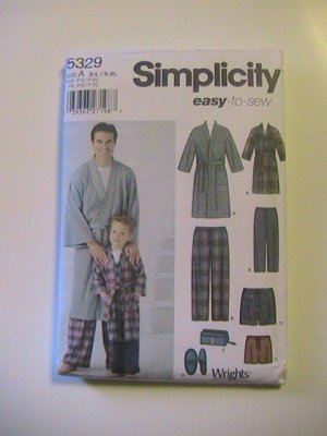 Simplicity Sewing Pattern 5329, Boys and Mens Robe, Slippers,Pants