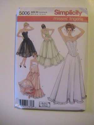 Simplicity Misses Lingerie Sewing Pattern, 5006, size 14, 16, 18,20