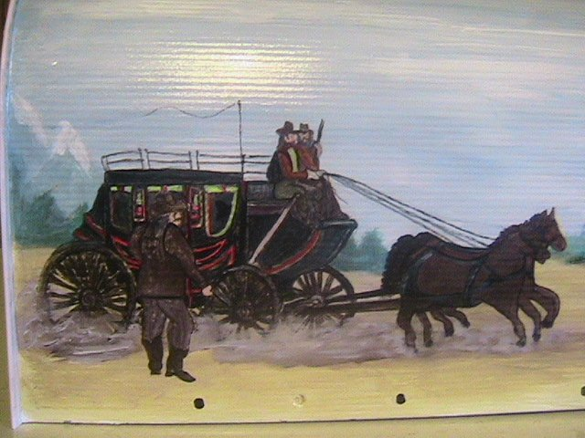 Handpainted Mailbox,Old West Stage Coach,Horses,Cowboys,Handpainted Landscape