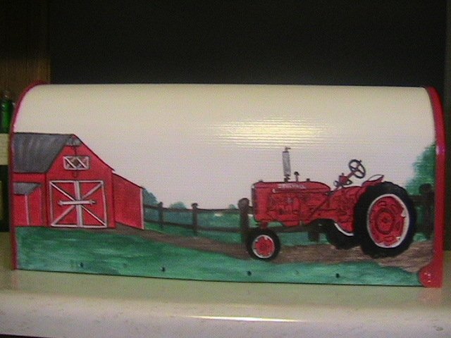 SOLD,Handpainted Mailbox, FarmAll C Tractor,Barn,Road,Fence