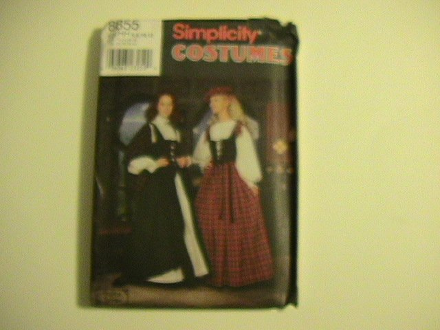 Simplicity Costume Pattern, #8855, Size HH, Misses,6,8,10,12,with Hat