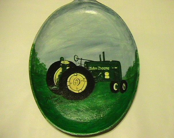 John Deere Tractor on a Handpainted Cast Iron Skillet