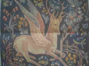Cluny Winged Stag Needlepoint Canvas