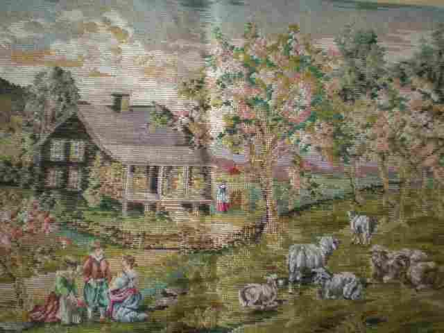 Trammed/Tramme Pastoral Scene The Shepherd's Cottage Canvas + Yarn