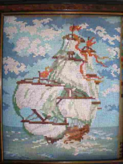 Gobelin's Ship out to Sea Needlepoint Kit comes with Frame to finish