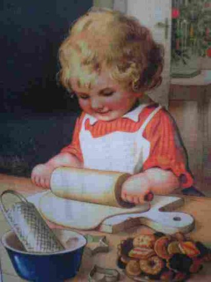 Victorian Child Christmas Baking Needlepoint /Tapestry Kit