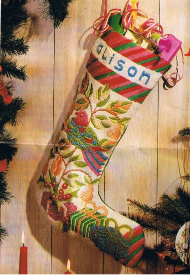 Glorafilia Christmas Stocking with partridge in a pear tree Needlepoint / Embroidery Kit
