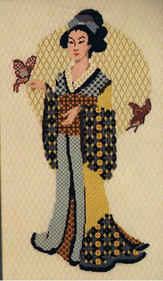 RARE Dimensions Textured Oriental Geisha with Butterflies Needlepoint/Tapestry Kit