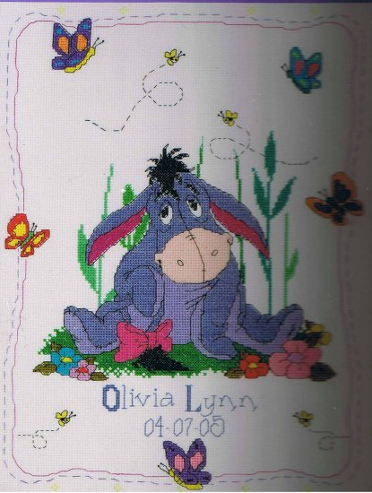 Janlynn Disney Eeyore& Butterfiles Birth Announcement Counted Cross Stitch Kit