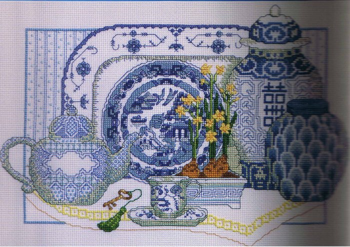 Janlynn Delft Blue China Counted Cross-Stitch kit