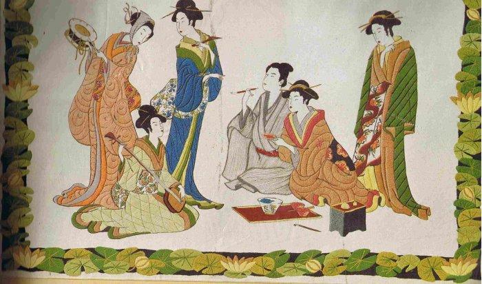 Vintage Minerva Crewel Oriental Tea House Samurai / Asian Geishas