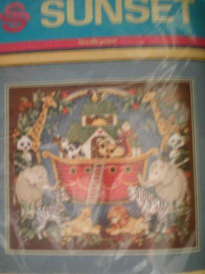 RARE Sunset Vintage Kit Noah's Ark Tapestry/Needlepoint Kit