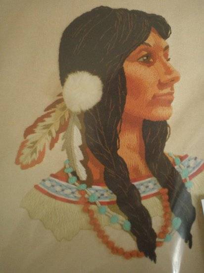 "Sunset ""Indian Princess"" designed by Dan Trotter Crewel Embroidery Kit"
