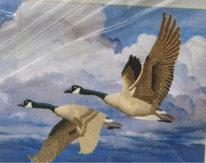 "Simplicity ""Homeward Bound"" Geese adapted from Maynard Reece Crewel Stitchery Kit"