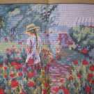 DMC Girl in Field - Afternoon Walk Tapestry / Needlepoint / Cross Stitch Canvas and Yarn