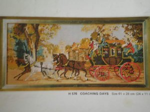 "Vintage Penelope Needlework Tapestry Kit ""Coaching Days"" Victorian Coach"