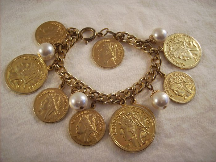 Vintage gold tone coin bracelet Faux pearls Joans Collectibles