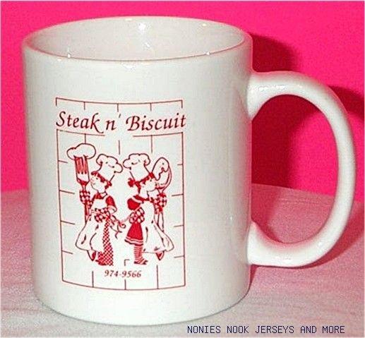STEAK N BISCUIT MUG white red Moulton AL coffee cup