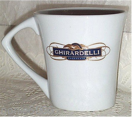 GHIRARDELLI fine CHOCOLATE oval COFFEE MUG cup