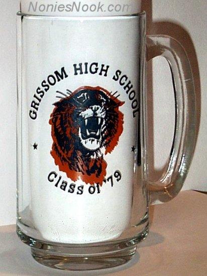 Glass Mug - Grissom High School Class of 1979 - Tigers mascot - Huntsville AL 79