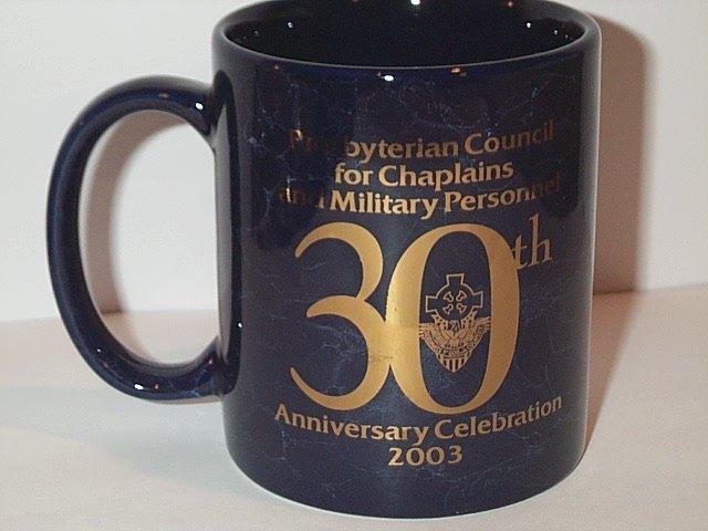 Presbyterian Church Council Chaplains Military Personnel 30th Anniversary MUG blue marble gold foil