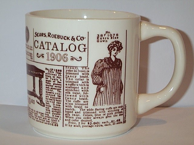 Sears Roebuck & Co Catalog 1906 COFFEE MUG white brown