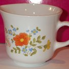 Corelle Creamer Wildflower orange poppy pansy white tapered mug
