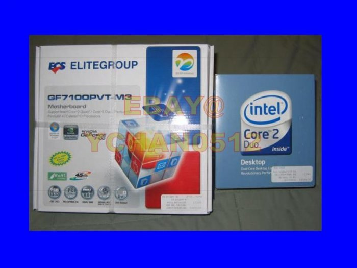 NEW Intel Core 2 DUO E4500 + ECS GF7100PVT-M3 Motherboard + Video + DVI output combo