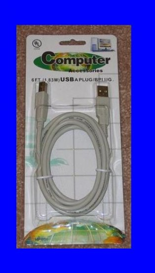 6 FT USB 2.0 A-B CABLE For HP CANON EPSON DELL PRINTER