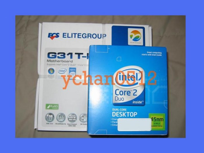 NEW INTEL DUAL CORE 2 DUO E8500 CPU 3.16GHZ LGA 775 SLB9K+ECS G31T-M Motherboard Combo BX80570E8500