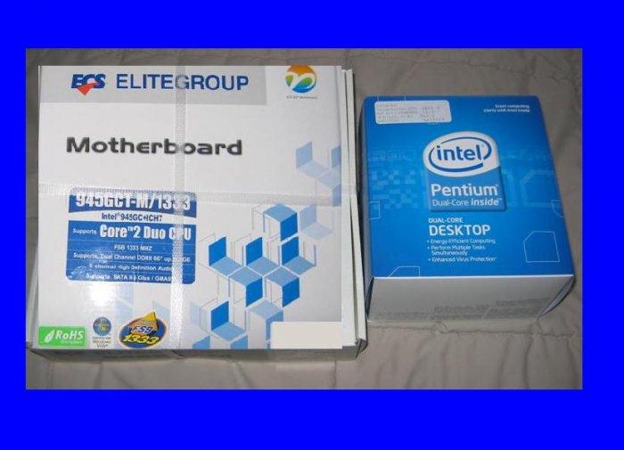 NEW BOX Intel Pentium Dual Core E2200 2.2 Ghz + ECS 945GCT-M Motherboard Combo LGA 775 1333 FSB