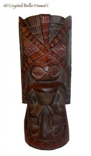 "Hawaiian God Kanaloa Carved Tiki Wood Statue Large 20"""