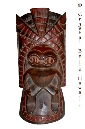 "Hawaiian God Kanaloa Carved Tiki Wood Statue/Figure 14"""