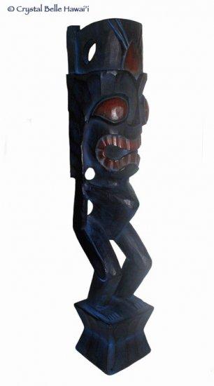 "Hawaiian God Lono Tiki Carved Wood Statue/Figurine 24"" - Midnight Blue"