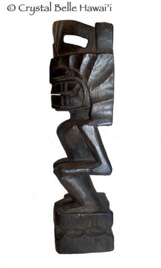 "Hawaiian God Lono Tiki Carved Wood Statue/Figurine 13"" - Natural"