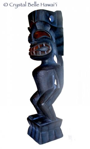 "Hawaiian God Lono Tiki Carved Wood Statue/Figurine 12"" - Midnight Blue"