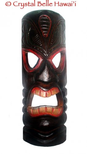 Hawaiian God Fiery Ku Wooden Carved/Painted Tiki Mask 20""