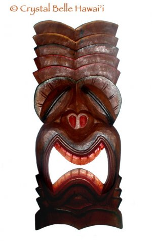 Hawaiian Lucky Tiki Hand Carved/Painted Wood Wall Hanging 20""