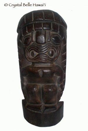 """Hawaiian God Fat Ku Carved Wood Luau Tiki Statue/Figurine 20"""""""
