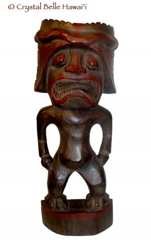 "Hawaiian God Ku of War with Helmet Hand Carved Tiki Wood Statue 20"""