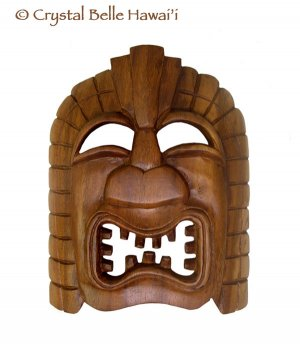 Hawaiian God Ku Hand Carved Monkey Pod Wood Tiki Mask 9x7